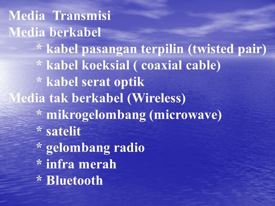 Media Transmisi Media berkabel * kabel pasangan terpilin (twisted pair) * kabel koeksial ( coaxial cable) * kabel serat optik Media tak berkabel (Wire