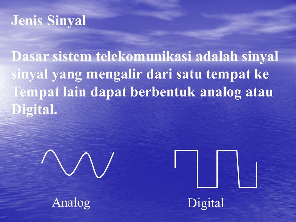 Jenis Sinyal Dasar sistem telekomunikasi adalah sinyal sinyal yang mengalir dari satu tempat ke Tempat lain dapat berbentuk analog atau Digital. Analo