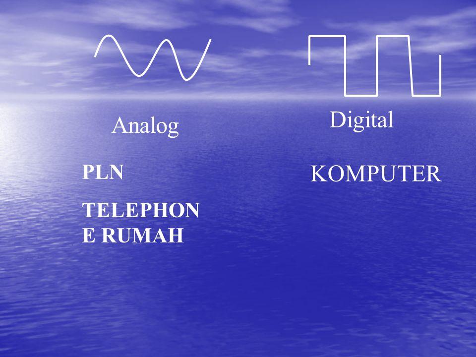 Pertukaran isyarat analog dan digital Con : komunikasi 2 buah komputer Modem (modulator/demodulator) alat yang mengubah Sinyal digital menjadi Analog ( sisi pengirim) mengubah Sinyal analog menjadi digital ( sisi penerima) MODEM