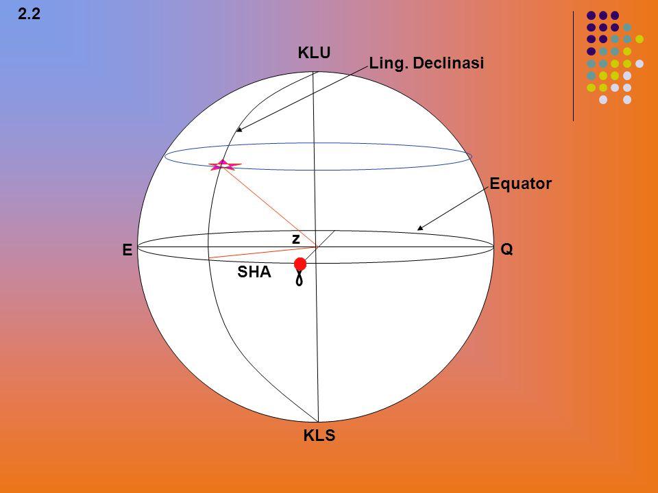 Q E KLU KLS 1 2 3 4 2.1 TATA KOORDINAT EKUATOR ADALAH TATA KOORDINAT DIMANA BIDANG EKUATOR SEBAGAI BIDANG DATARNYA Sedangkan unsur yang diukur adalah diklinasi benda angkasa dan Arcensiorekta.