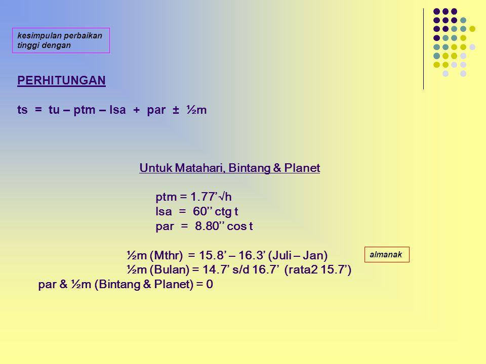 1/2m - Matahari antara 15.8' s/d 16.3' ( rata-rata 16.05' ) Dft V / Almanak - Bulan antara 14.7' s/d 16.7' ( rata-rata 15.7' ) Dft VII / Almanak - Bintang dan Planet = 0
