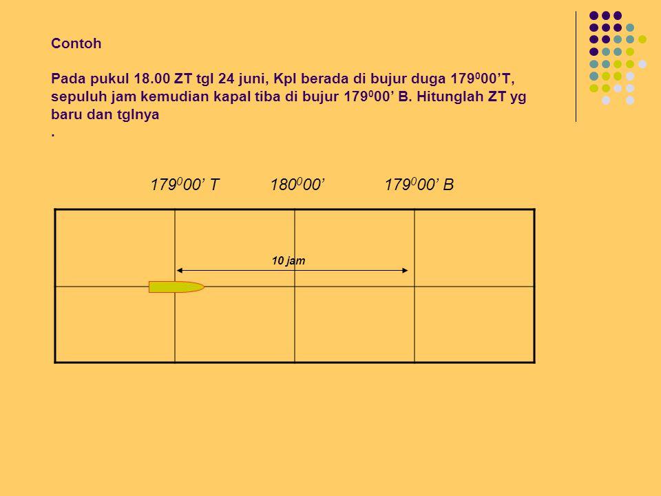 Contoh: Contoh Pada pukul 18.00 ZT tgl 24 juni, Kpl berada di bujur duga 179 0 00'B, sepuluh jam kemudian kapal tiba di bujur 179 0 00' T.