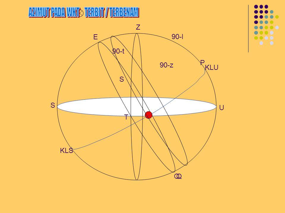 Keadaan Istimewa T = 0 ; Berembang disisi puncak dimana kutub berada.