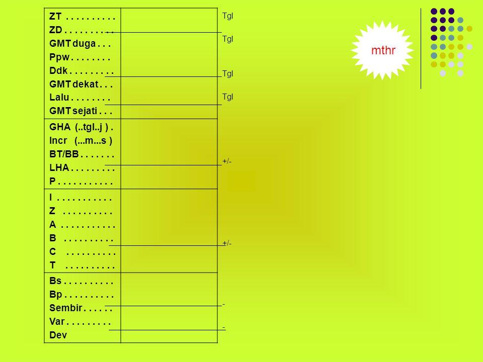 ZT ZD(+/-) + Wkt kapal Bujur/15 ( Brt / Tmr ) GMTduga Ppw ddk + Cronometer Time signal GMTdekat lalu +Cronometer log/ hitung GMTsejati GHA Incr BT/BB(+/-) + Almanak (Tgl & jam) Almanak ( mnt & dtk) Bujur duga LHA P z li B A ( tg.z/ sin.
