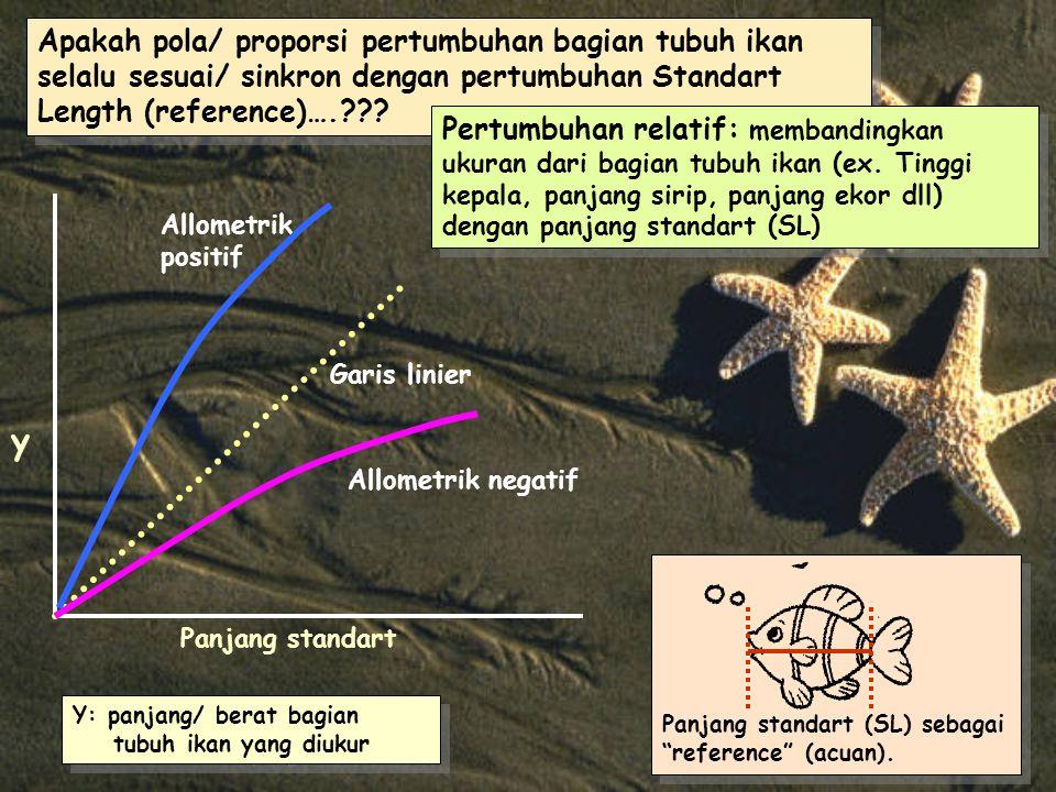 Apakah pola/ proporsi pertumbuhan bagian tubuh ikan selalu sesuai/ sinkron dengan pertumbuhan Standart Length (reference)….??.