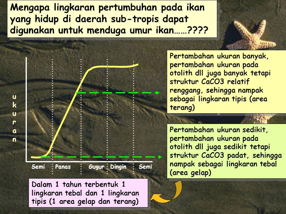 Mengapa lingkaran pertumbuhan pada ikan yang hidup di daerah sub-tropis dapat digunakan untuk menduga umur ikan……???.