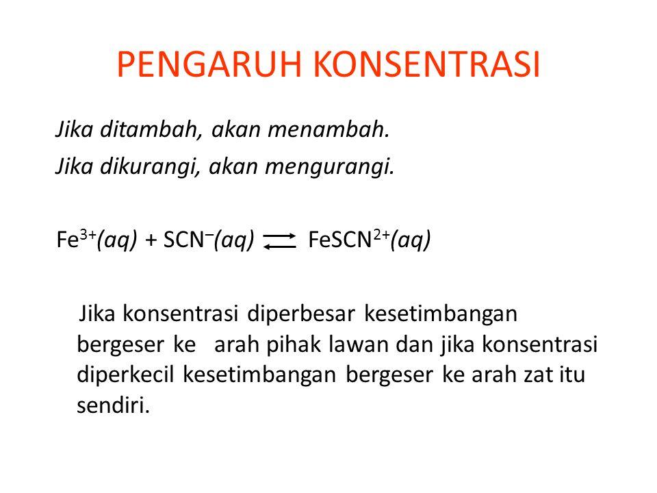 Fe 3+ (aq) + SCN – (aq) FeSCN 2+ (aq) Pengaruh Konsentrasi dan Volume Tak berwarna Merah darah Kuning [...] = konsentrasi (v = volume)