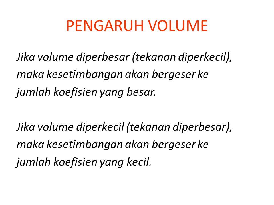 PENGARUH VOLUME Jika volume diperbesar (tekanan diperkecil), maka kesetimbangan akan bergeser ke jumlah koefisien yang besar.