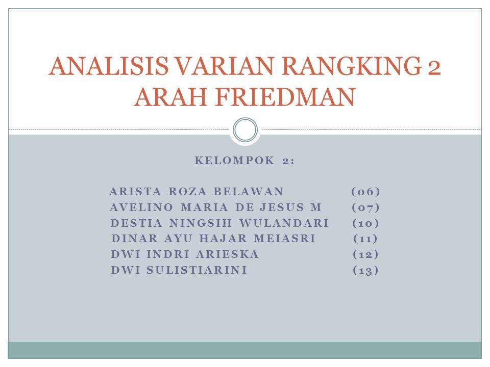 ANALISIS RANKING VARIAN 2 ARAH FRIEDMAN 1.Dikenal dengan nama Uji Friedman 2.