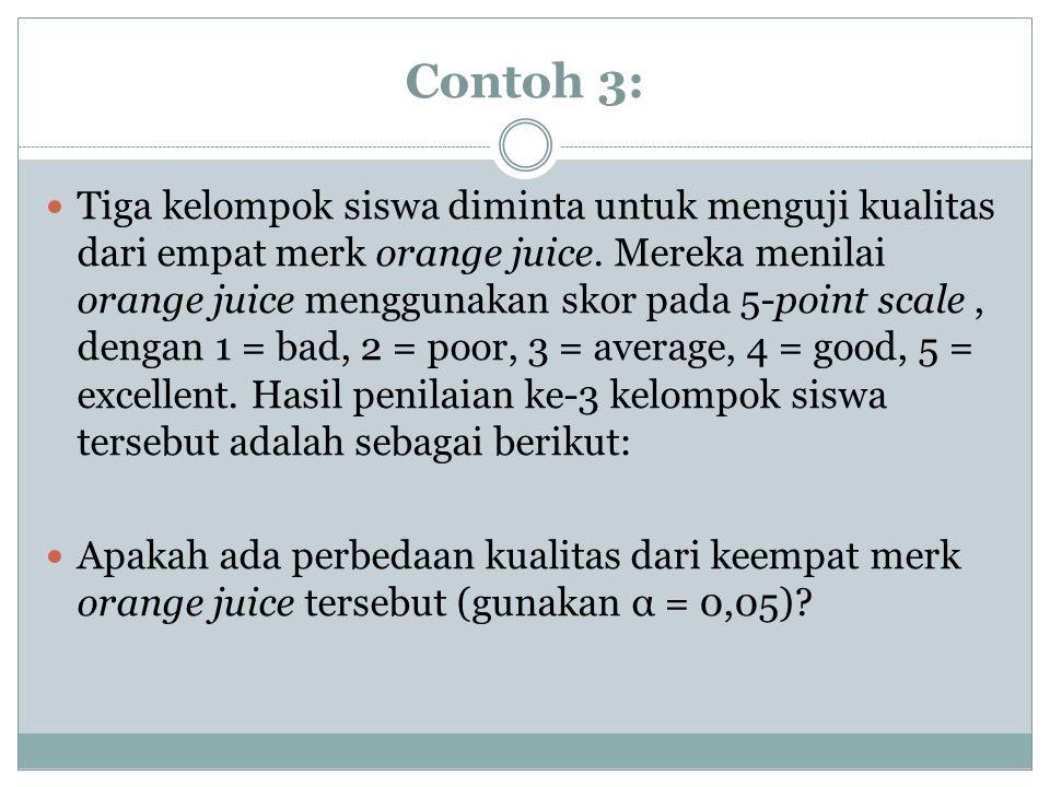 Contoh 3: Tiga kelompok siswa diminta untuk menguji kualitas dari empat merk orange juice. Mereka menilai orange juice menggunakan skor pada 5-point s