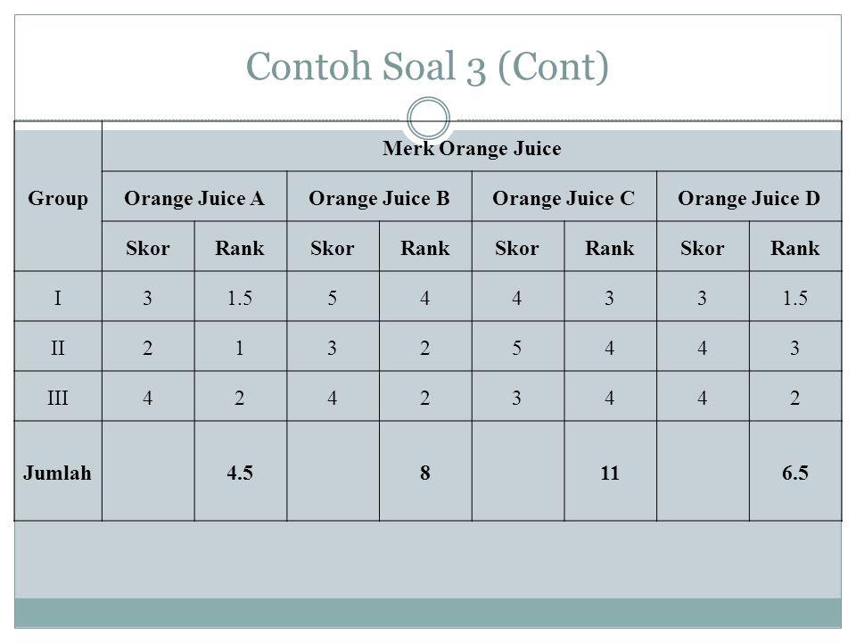 Contoh Soal 3 (Cont) Group Merk Orange Juice Orange Juice AOrange Juice BOrange Juice COrange Juice D SkorRankSkorRankSkorRankSkorRank I31.554433 II21