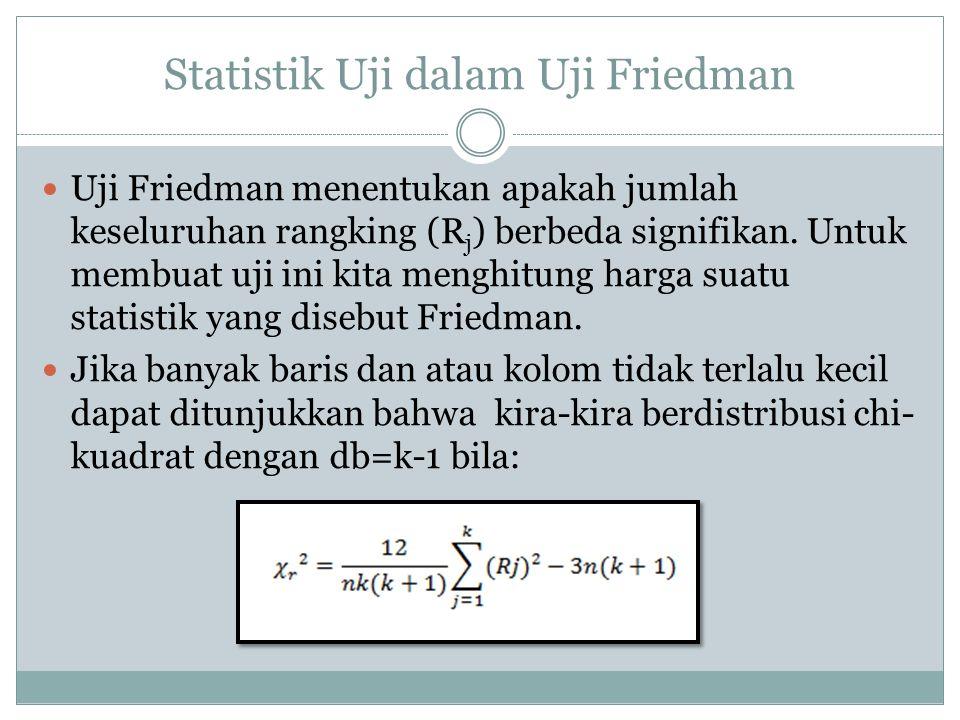 Statistik Uji dalam Uji Friedman Uji Friedman menentukan apakah jumlah keseluruhan rangking (R j ) berbeda signifikan. Untuk membuat uji ini kita meng