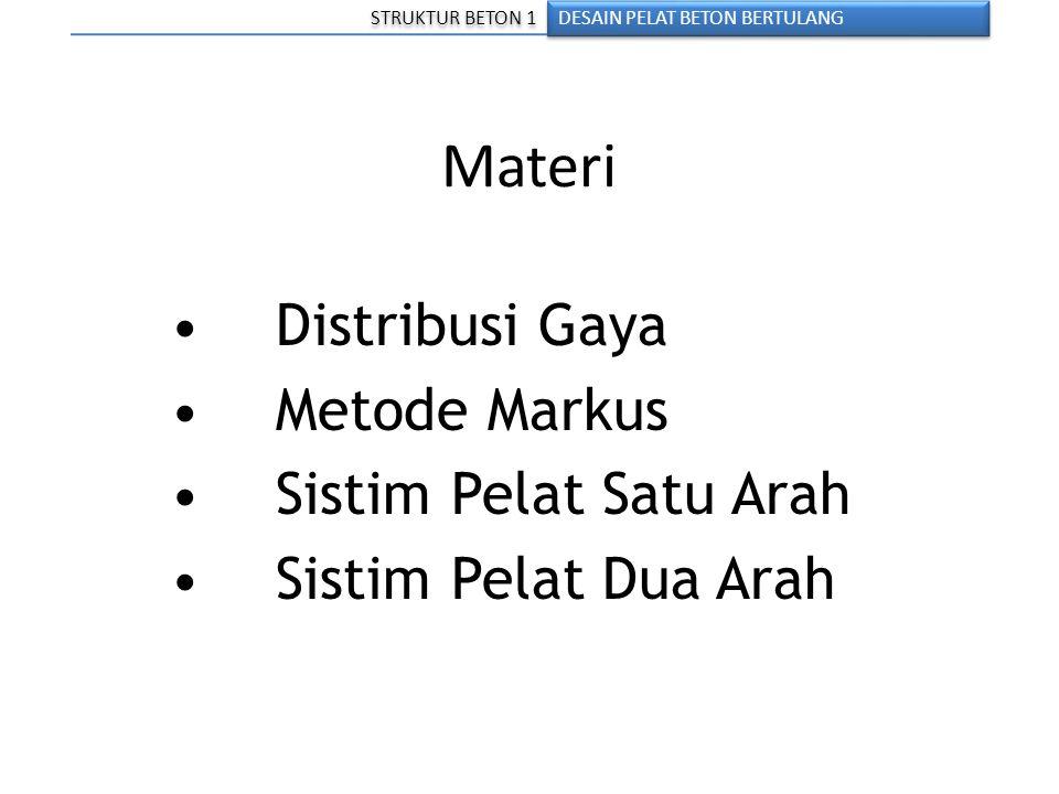 Materi DESAIN PELAT BETON BERTULANG STRUKTUR BETON 1 Distribusi Gaya Metode Markus Sistim Pelat Satu Arah Sistim Pelat Dua Arah