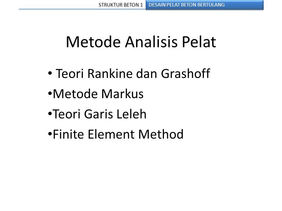 Metode Analisis Pelat Teori Rankine dan Grashoff Metode Markus Teori Garis Leleh Finite Element Method DESAIN PELAT BETON BERTULANG STRUKTUR BETON 1