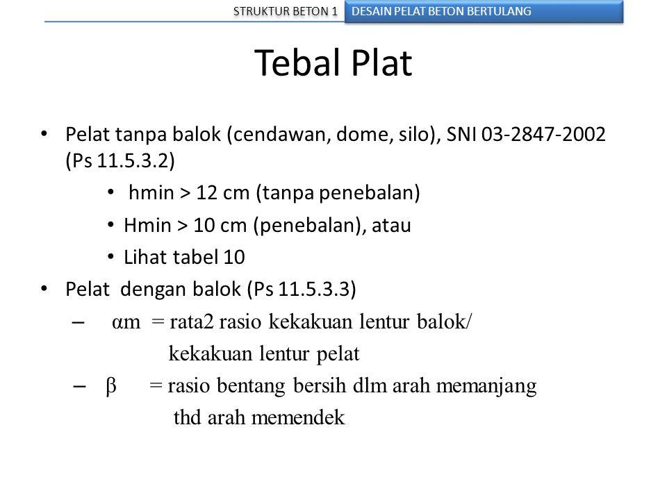 Tebal Plat Pelat tanpa balok (cendawan, dome, silo), SNI 03-2847-2002 (Ps 11.5.3.2) hmin > 12 cm (tanpa penebalan) Hmin > 10 cm (penebalan), atau Liha