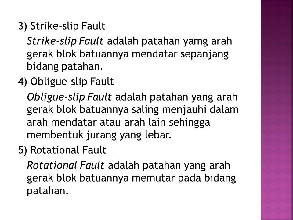 3) Strike-slip Fault Strike-slip Fault adalah patahan yamg arah gerak blok batuannya mendatar sepanjang bidang patahan. 4) Obligue-slip Fault Obligue-