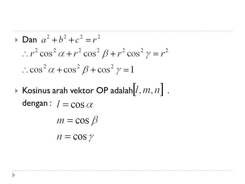 Kosinus Arah (Rasio Arah)  Arah suatu dalam vektor 3 dimensi ditentukan oleh sudut-sudut yang dibuat vektor dengan ketiga sumbu acuannya.
