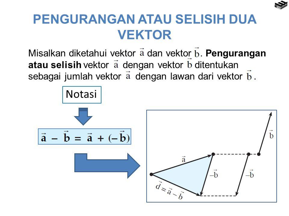 PENGURANGAN ATAU SELISIH DUA VEKTOR Misalkan diketahui vektor dan vektor.
