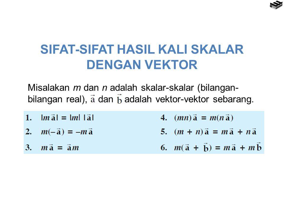 SIFAT-SIFAT HASIL KALI SKALAR DENGAN VEKTOR Misalakan m dan n adalah skalar-skalar (bilangan- bilangan real), dan adalah vektor-vektor sebarang.