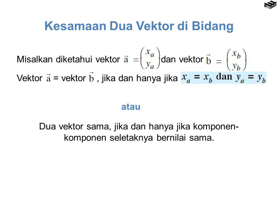 Kesamaan Dua Vektor di Bidang Misalkan diketahui vektor dan vektor.