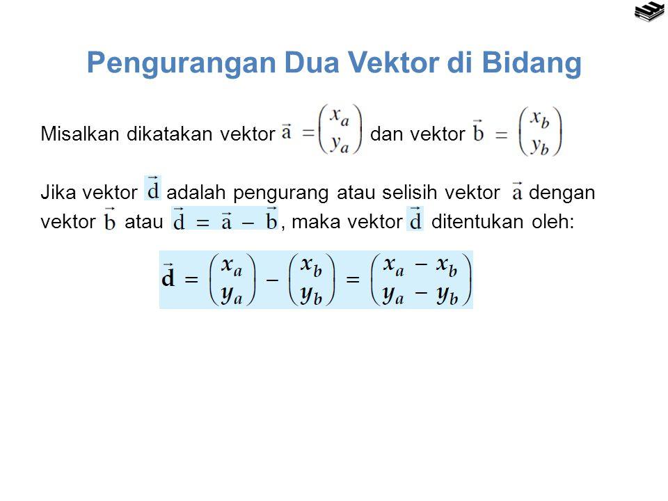 Pengurangan Dua Vektor di Bidang Misalkan dikatakan vektor dan vektor Jika vektor adalah pengurang atau selisih vektor dengan vektor atau, maka vektor ditentukan oleh: