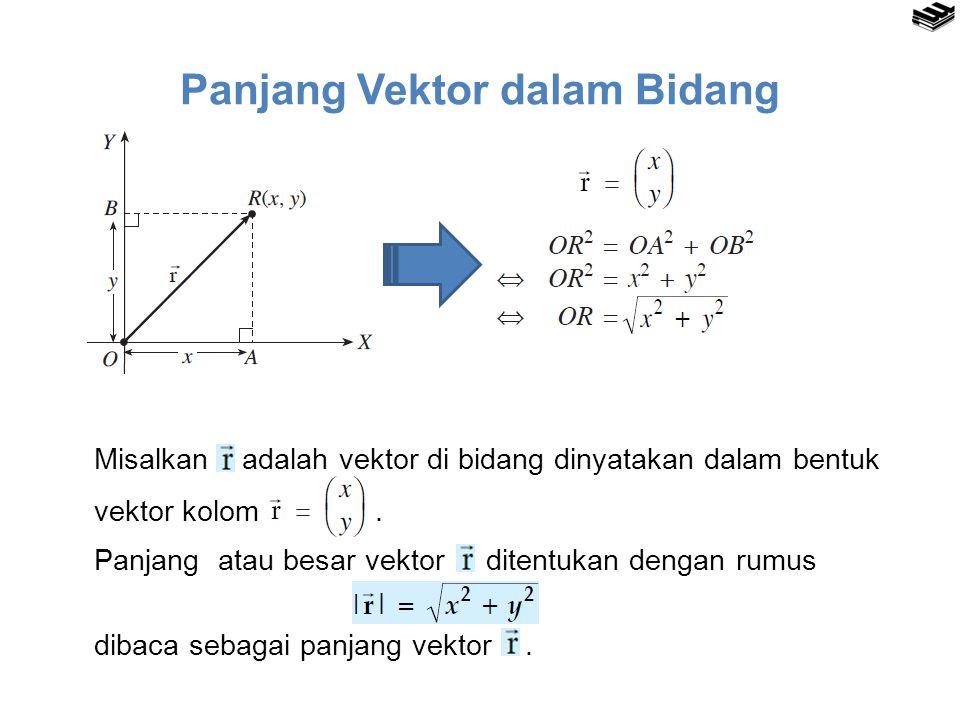 Panjang Vektor dalam Bidang Misalkan adalah vektor di bidang dinyatakan dalam bentuk vektor kolom.