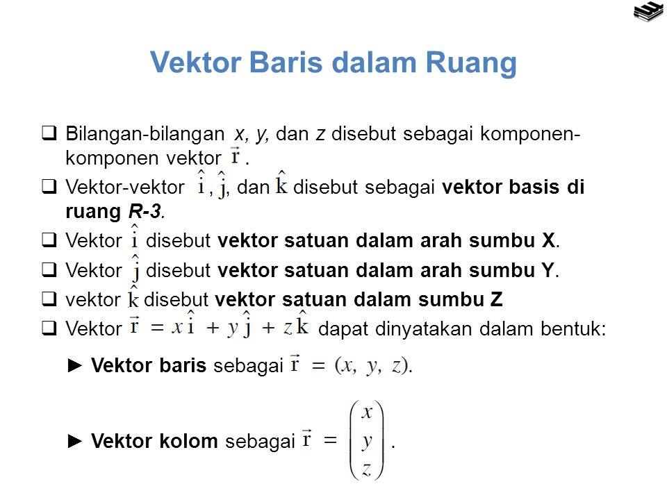 Vektor Baris dalam Ruang  Bilangan-bilangan x, y, dan z disebut sebagai komponen- komponen vektor.