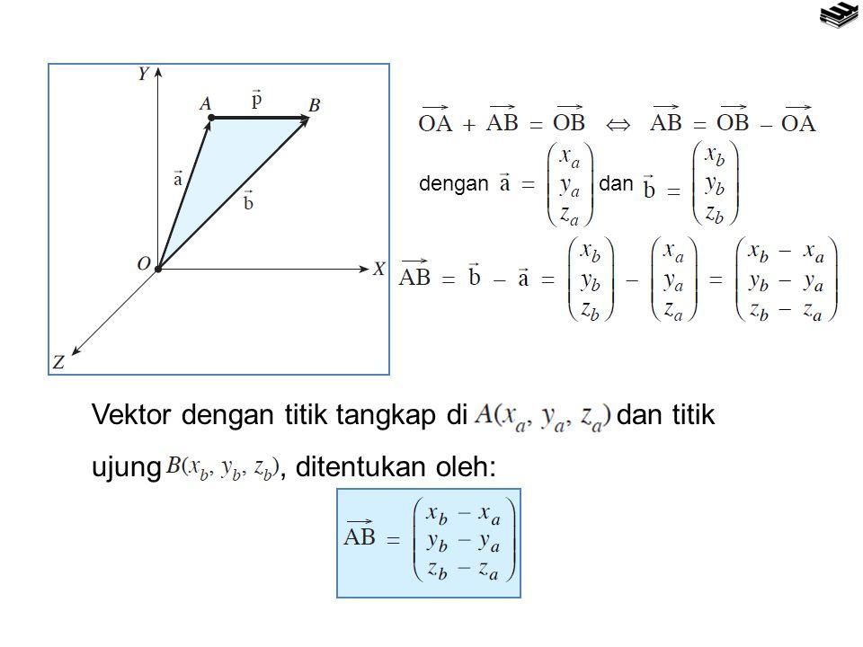 Vektor dengan titik tangkap di dan titik ujung, ditentukan oleh: dengandan