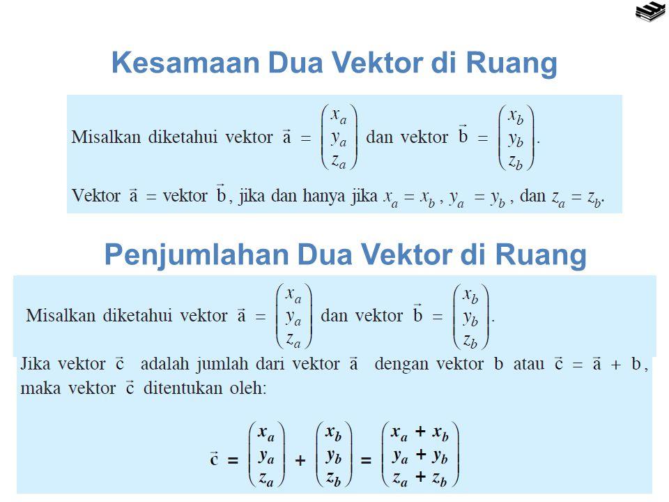 Kesamaan Dua Vektor di Ruang Penjumlahan Dua Vektor di Ruang