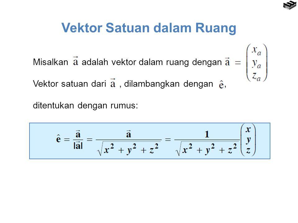 Vektor Satuan dalam Ruang Misalkan adalah vektor dalam ruang dengan Vektor satuan dari, dilambangkan dengan, ditentukan dengan rumus:
