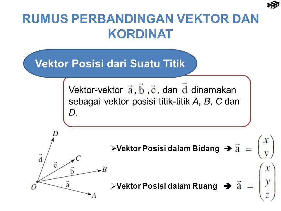 RUMUS PERBANDINGAN VEKTOR DAN KORDINAT Vektor-vektor,,, dan dinamakan sebagai vektor posisi titik-titik A, B, C dan D.