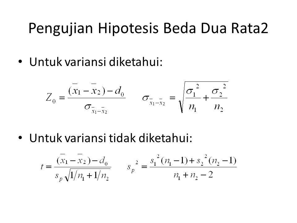 Pengujian Hipotesis Beda Dua Rata2 Untuk variansi diketahui: Untuk variansi tidak diketahui: