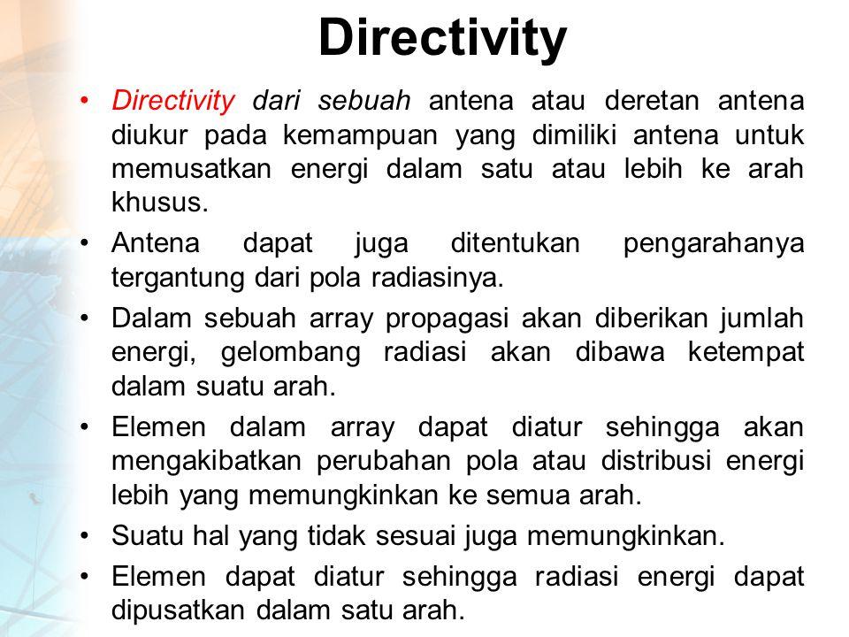 Directivity Directivity dari sebuah antena atau deretan antena diukur pada kemampuan yang dimiliki antena untuk memusatkan energi dalam satu atau lebih ke arah khusus.