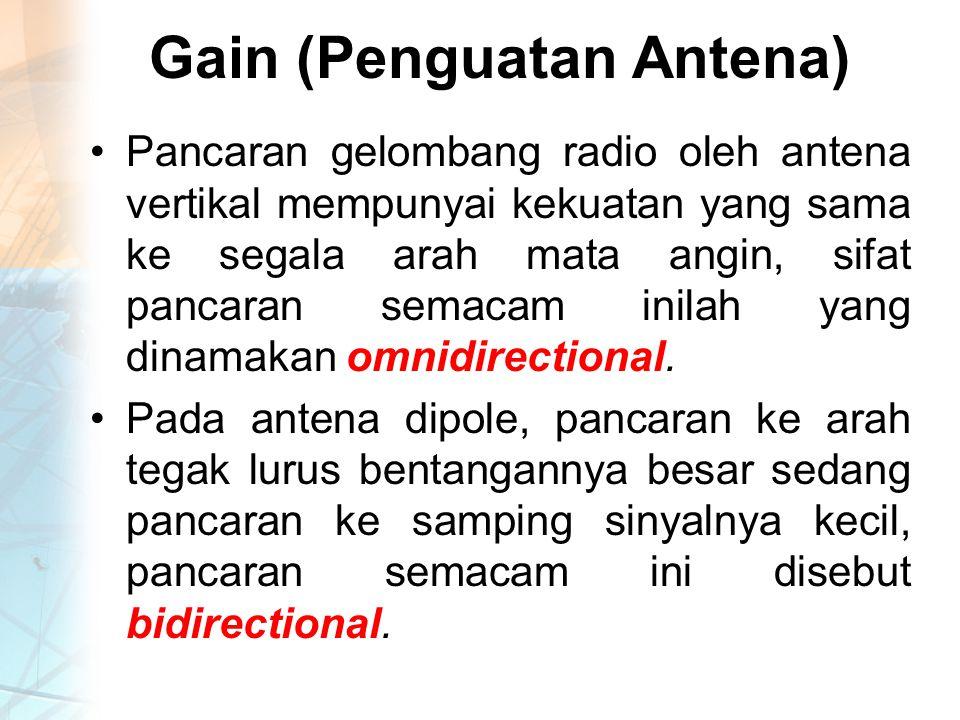 Gain (Penguatan Antena) Pancaran gelombang radio oleh antena vertikal mempunyai kekuatan yang sama ke segala arah mata angin, sifat pancaran semacam inilah yang dinamakan omnidirectional.