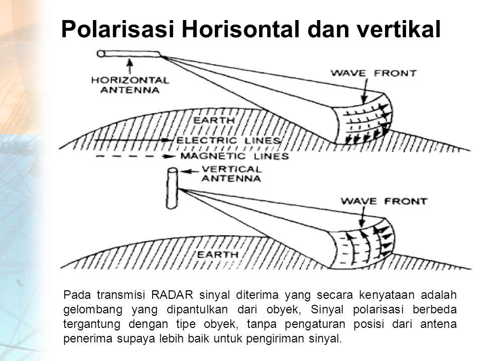 Polarisasi Horisontal dan vertikal Pada transmisi RADAR sinyal diterima yang secara kenyataan adalah gelombang yang dipantulkan dari obyek, Sinyal polarisasi berbeda tergantung dengan tipe obyek, tanpa pengaturan posisi dari antena penerima supaya lebih baik untuk pengiriman sinyal.