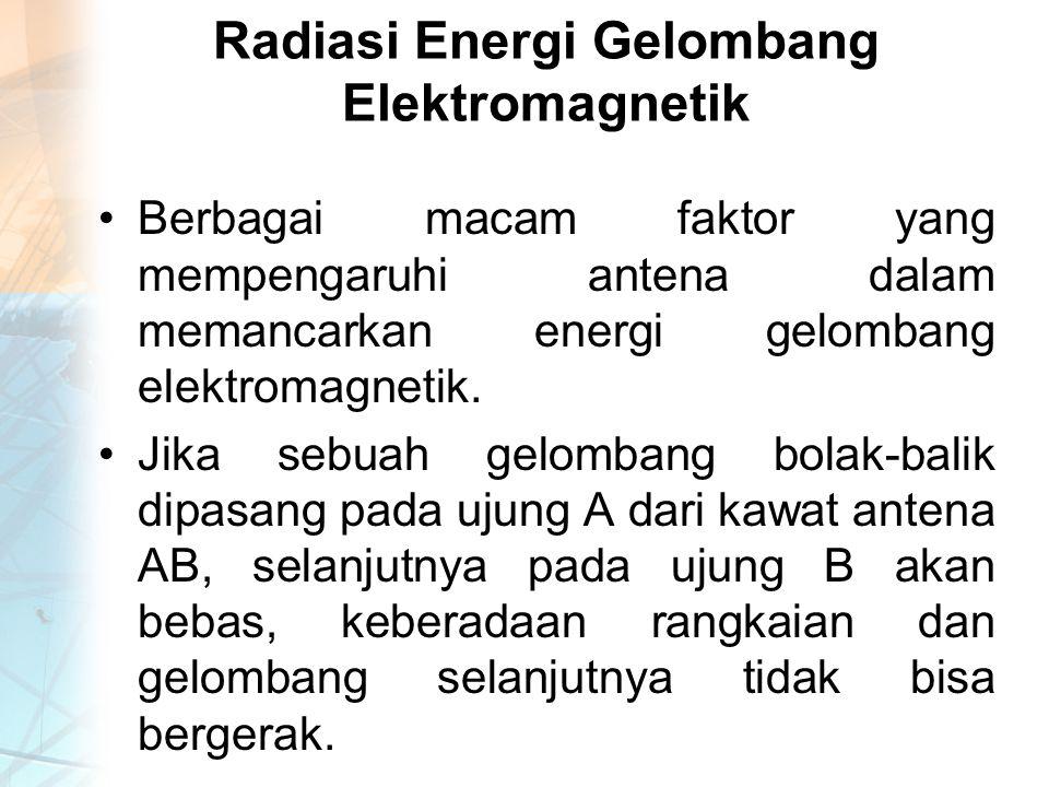 Radiasi Energi Gelombang Elektromagnetik Berbagai macam faktor yang mempengaruhi antena dalam memancarkan energi gelombang elektromagnetik.