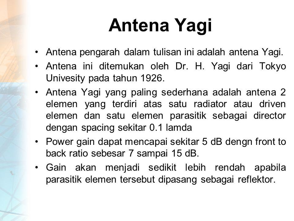 Antena Yagi Antena pengarah dalam tulisan ini adalah antena Yagi.