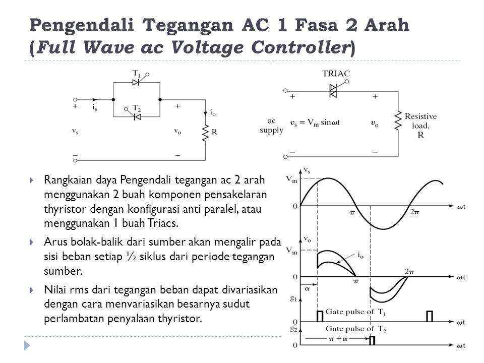 Pengendali Tegangan AC 1 Fasa 2 Arah ( Full Wave ac Voltage Controller )  Rangkaian daya Pengendali tegangan ac 2 arah menggunakan 2 buah komponen pe