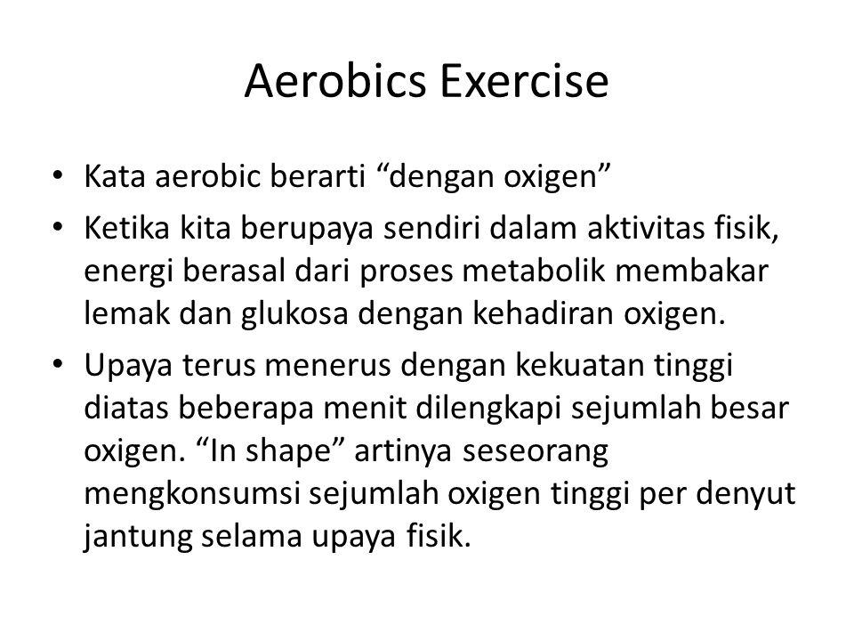 Aerobics Exercise Kata aerobic berarti dengan oxigen Ketika kita berupaya sendiri dalam aktivitas fisik, energi berasal dari proses metabolik membakar lemak dan glukosa dengan kehadiran oxigen.
