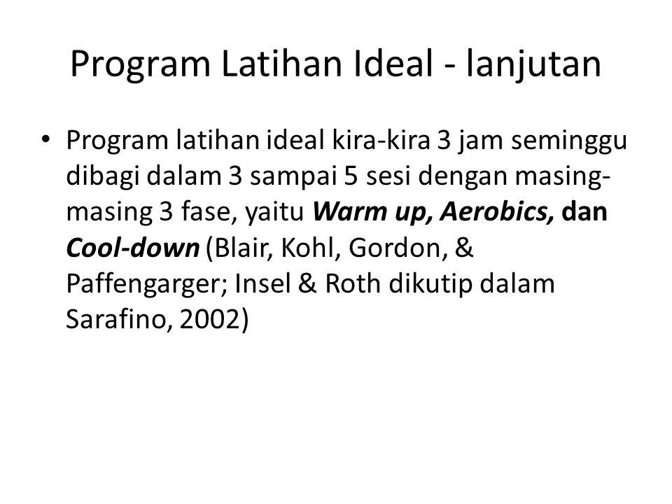 Program Latihan Ideal - lanjutan Program latihan ideal kira-kira 3 jam seminggu dibagi dalam 3 sampai 5 sesi dengan masing- masing 3 fase, yaitu Warm up, Aerobics, dan Cool-down (Blair, Kohl, Gordon, & Paffengarger; Insel & Roth dikutip dalam Sarafino, 2002)