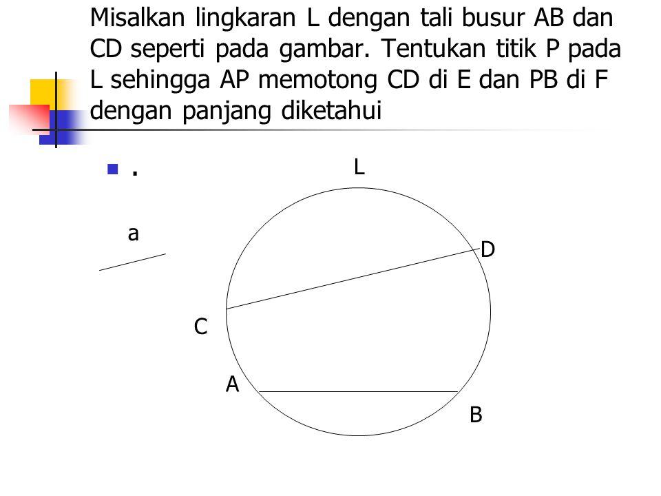 Misalkan lingkaran L dengan tali busur AB dan CD seperti pada gambar. Tentukan titik P pada L sehingga AP memotong CD di E dan PB di F dengan panjang