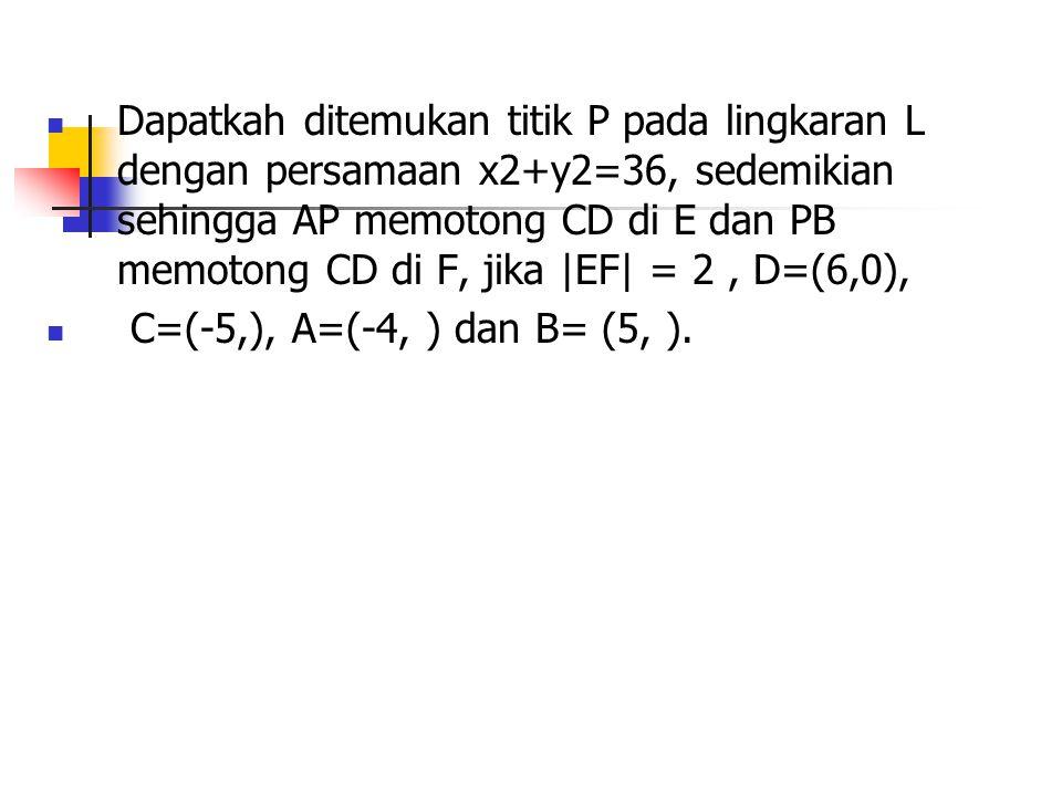 Dapatkah ditemukan titik P pada lingkaran L dengan persamaan x2+y2=36, sedemikian sehingga AP memotong CD di E dan PB memotong CD di F, jika |EF| = 2,