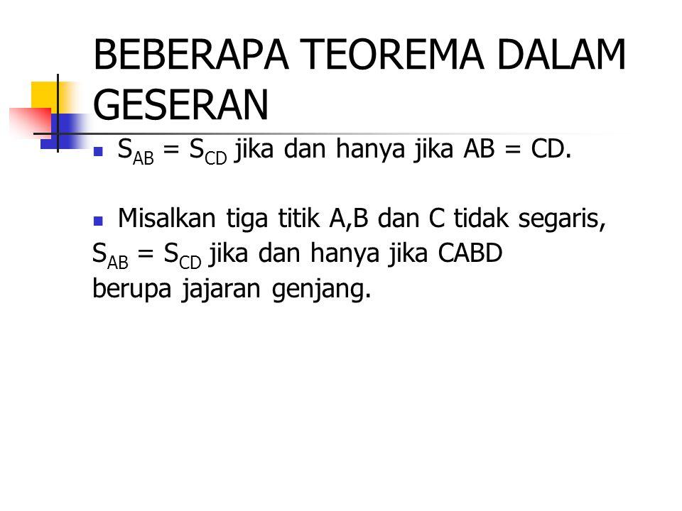 BEBERAPA TEOREMA DALAM GESERAN S AB = S CD jika dan hanya jika AB = CD. Misalkan tiga titik A,B dan C tidak segaris, S AB = S CD jika dan hanya jika C