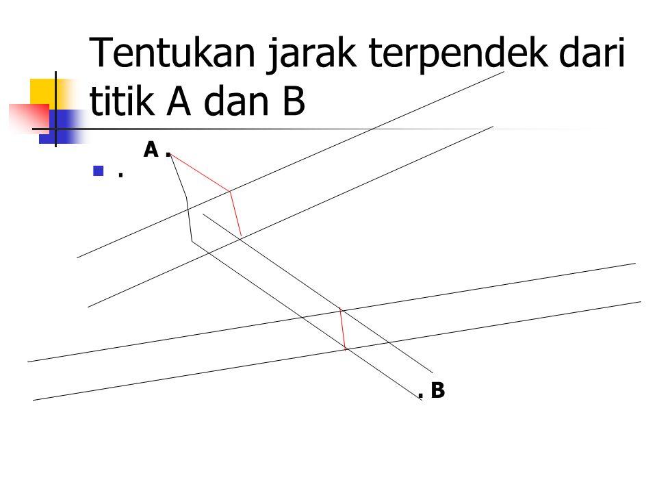 Tentukan jarak terpendek dari titik A dan B. A.. B