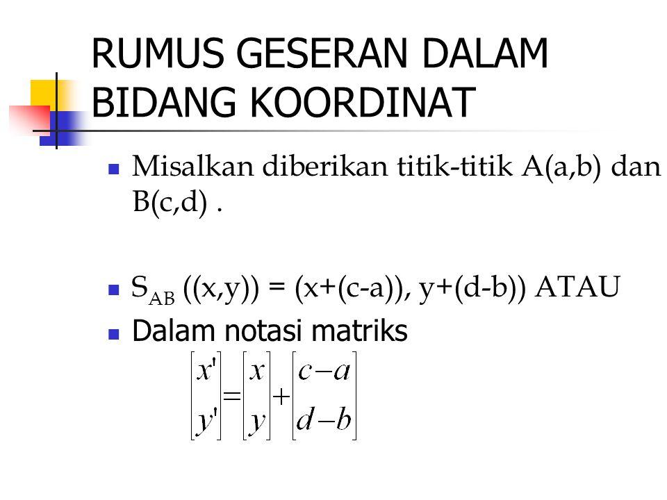 RUMUS GESERAN DALAM BIDANG KOORDINAT Misalkan diberikan titik-titik A(a,b) dan B(c,d). S AB ((x,y)) = (x+(c-a)), y+(d-b)) ATAU Dalam notasi matriks