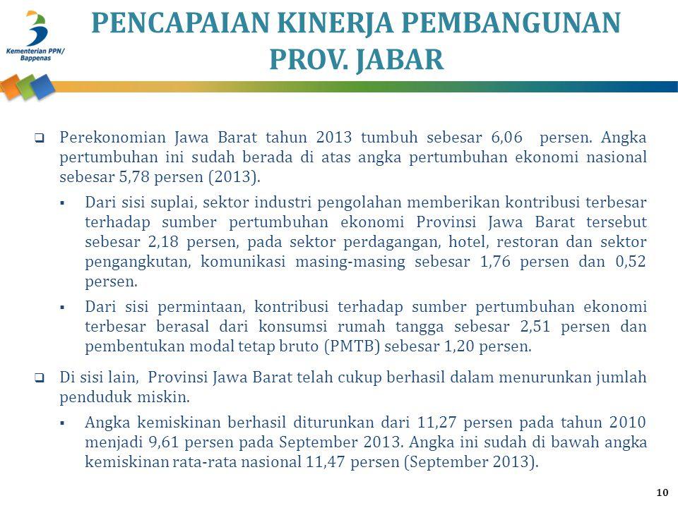 PENCAPAIAN KINERJA PEMBANGUNAN PROV. JABAR 10  Perekonomian Jawa Barat tahun 2013 tumbuh sebesar 6,06 persen. Angka pertumbuhan ini sudah berada di a