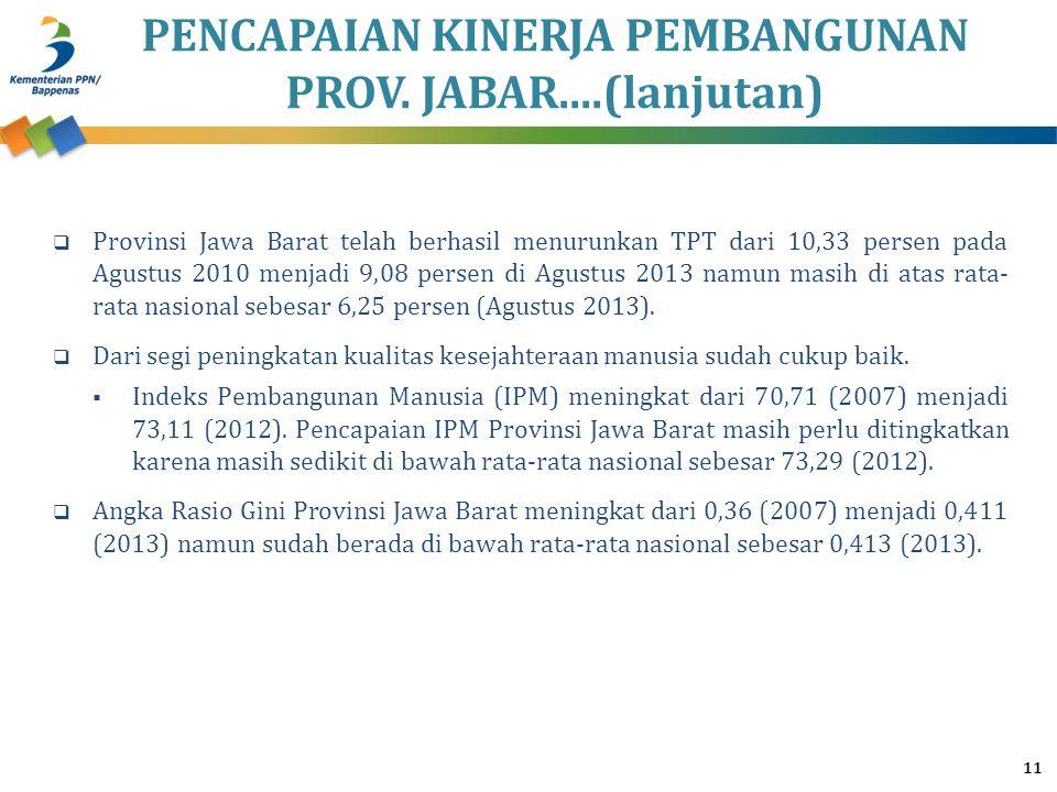 PENCAPAIAN KINERJA PEMBANGUNAN PROV. JABAR....(lanjutan) 11  Provinsi Jawa Barat telah berhasil menurunkan TPT dari 10,33 persen pada Agustus 2010 me