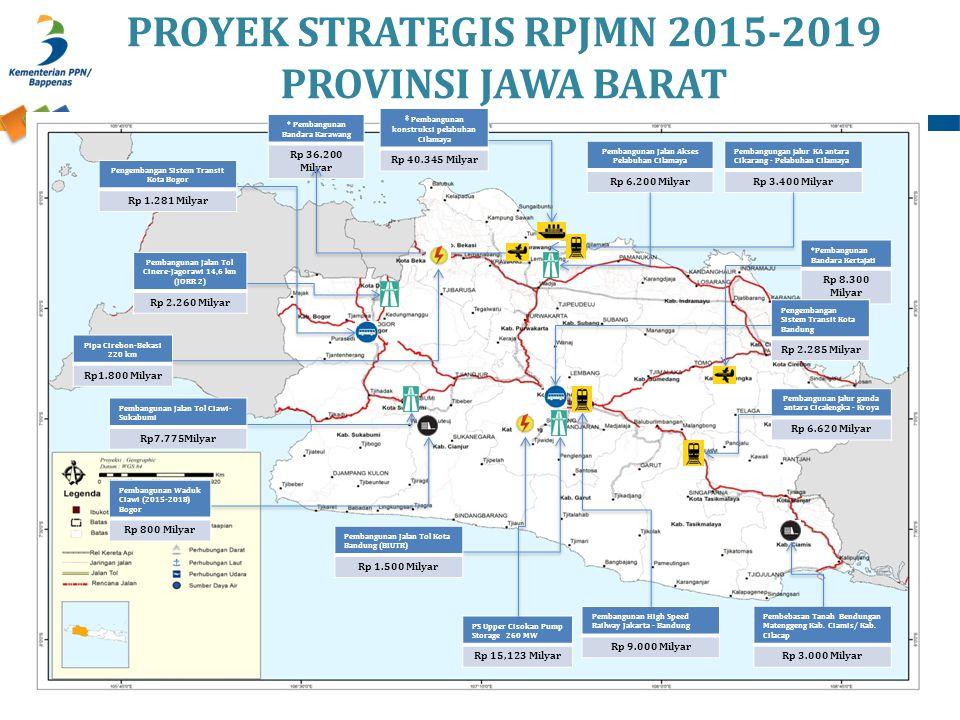 PROYEK STRATEGIS RPJMN 2015-2019 PROVINSI JAWA BARAT Pembangunan Jalan Tol Ciawi- Sukabumi Rp7.775Milyar Pembangunan High Speed Railway Jakarta - Band