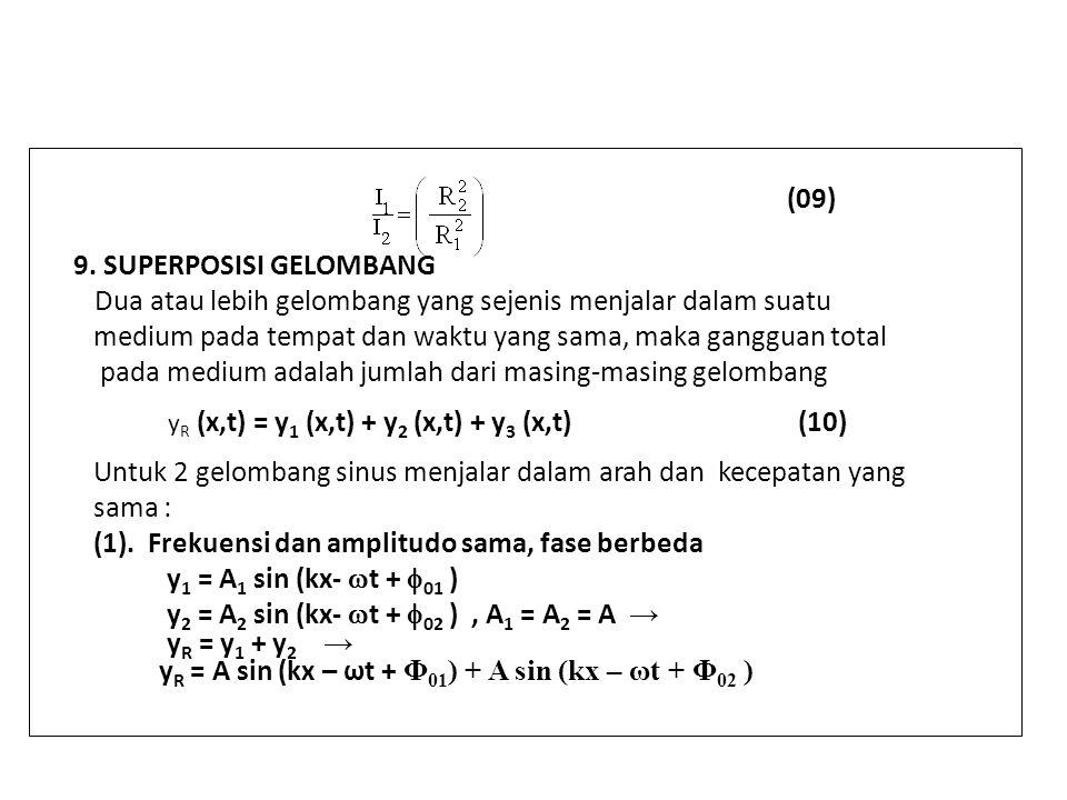 (09) 9. SUPERPOSISI GELOMBANG Dua atau lebih gelombang yang sejenis menjalar dalam suatu medium pada tempat dan waktu yang sama, maka gangguan total p
