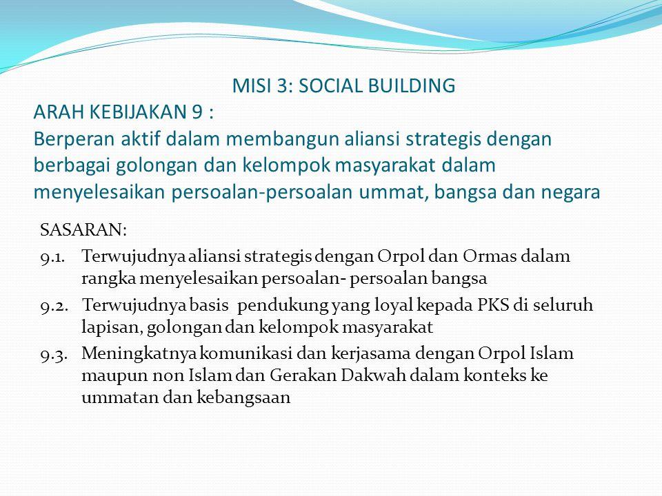 MISI 3: SOCIAL BUILDING ARAH KEBIJAKAN 9 : Berperan aktif dalam membangun aliansi strategis dengan berbagai golongan dan kelompok masyarakat dalam men